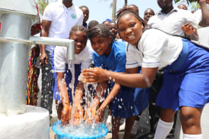 The Water Project: Lungi, Madina, St. Mary's Junior Secondary School -  Students Happy Splashing Water