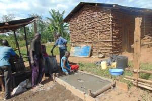 The Water Project: Ewamakhumbi Community, Mukungu Spring -  Sanitation Slab Construction