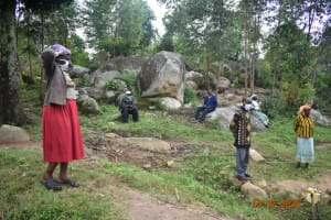 The Water Project: Bukhanga Community, Indangasi Spring -  Josephine Observes Social Distancing At The Spring