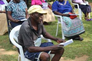 The Water Project: Bukhunyilu Community, Solomon Wangula Spring -  An Elder Following The Training