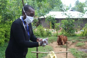 The Water Project: Bukhunyilu Community, Solomon Wangula Spring -  Handwashing Training