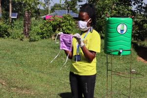 The Water Project: Musango Community, Dawi Spring -  A Complete Mask Made From Simple Cloth Found At Home