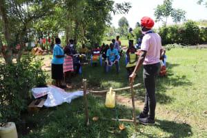 The Water Project: Mwituwa Community, Shikunyi Spring -  Covid Sensitization Ongoing