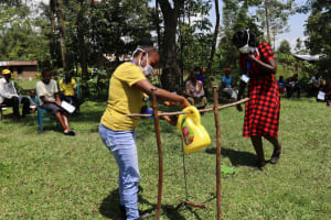The Water Project: Muyundi Community, Baraza Spring -  Setting Up The Tippy Tap