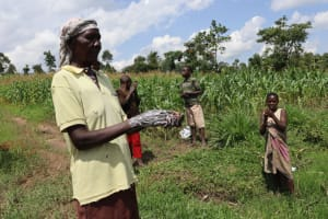 The Water Project: Muyundi Community, Ngalame Spring -  Mama Washing Her Hands