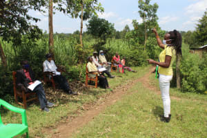The Water Project: Lukova Community, Wasike Spring -  Mask Making And Wearing Training