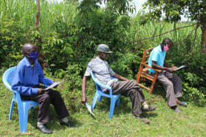 The Water Project: Lukova Community, Wasike Spring -  New Normal Of Mask Wearing In The Communities
