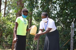 The Water Project: Sambuli Community, Nechesa Spring -  Handwashing Demonstration