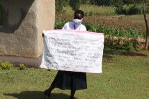 The Water Project: Kalenda A Community, Webo Simali Spring -  A Sack With Written Covid Cautions Used At The Training