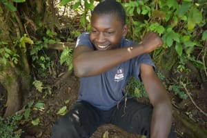 The Water Project: Shamiloli Community, Kwasasala Spring -  Coughing Into Elbow Demonstration
