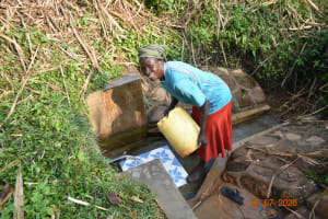 The Water Project: Ataku Community, Ngache Spring -  Catherine Fetches Water At Ngache Spring
