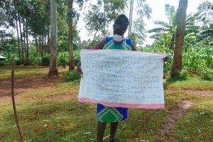 The Water Project: Munzakula Community, Musonye Spring -  The Facilitator Holding Up The Reminder Chart
