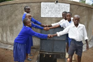 The Water Project: Mutiva Primary School -  Handshaking At The Water Point