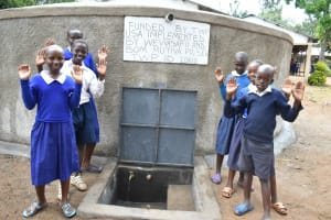 The Water Project: Mutiva Primary School -  Students Posing At The Water Point