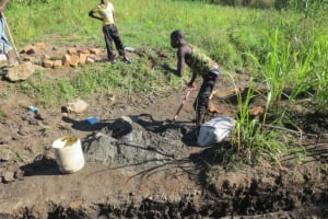 The Water Project: Mahira Community, Litinyi Spring -  Mixing Cement