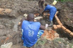 The Water Project: Mahira Community, Litinyi Spring -  Wall Construction