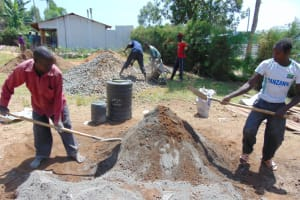 The Water Project: Malinda Secondary School -  Preparing Sand For Construction