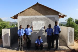 The Water Project: Malinda Secondary School -  Boys Posing At The Finished Latrines
