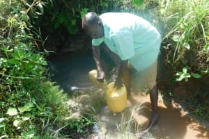 The Water Project: Mahola Community, Oyula Spring -  Collecting Water From Oyula Spring