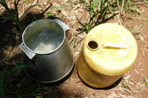 The Water Project: Mukhweso Community, Shemema Spring -  Water Storage Containers