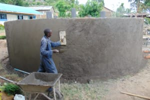The Water Project: Malinda Secondary School -  Exterior Tank Plastering