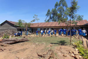 The Water Project: Ivakale Primary School & Community - Rain Tank 1 -  Students On School Grounds