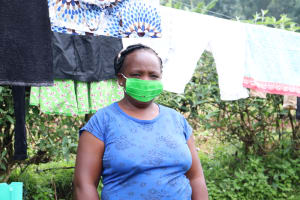 The Water Project: Ikonyero Community, Amkongo Spring -  Abigail With Her Mask On At All Times Away From Home