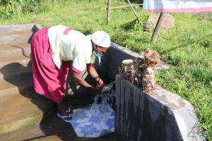 The Water Project: Mahira Community, Kusimba Spring -  Mrs Kusimba Uses Spring Water To Rinse Tubers