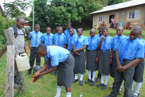 The Water Project: Malinda Secondary School -  Training On Handwashing Using A Leaky Tin