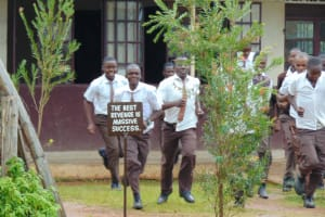 The Water Project: Friends Kisasi Secondary School -  Students Running To The Latrines