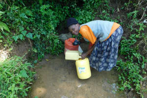 The Water Project: Emutetemo Community, Lubale Spring -  Collecting Water From Lubale Spring