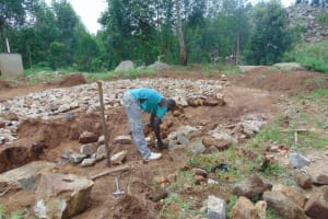 The Water Project: Kapkoi Primary School -  Tank Foundation Laid With Stones