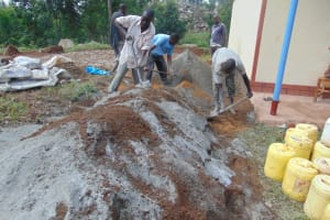The Water Project: Kapkoi Primary School -  Mixing Cement
