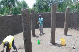 The Water Project: Kapkoi Primary School -  Pillar Plastering