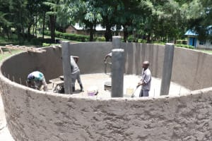 The Water Project: Friends School Shivanga Secondary -  Applying The Final Touches On The Inside Walls