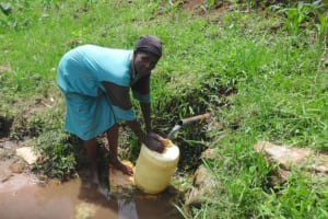 The Water Project: Mahira Community, Anunda Spring -  How Water Is Collected