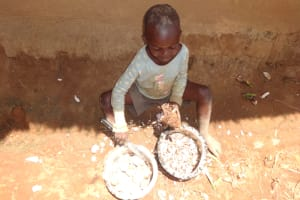 The Water Project: Shihome Community, Peter Majoni Spring -  A Child Helps Prepare Yams To Eat