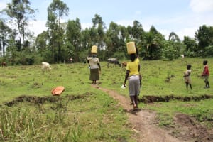 The Water Project: Makale Community, Luyingo Spring -  Carrying Water