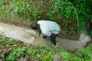 The Water Project: Ikonyero Community, Jesse Spring -  Drainage Opening