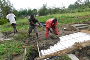 The Water Project: Eshiakhulo Community, Asman Sumba Spring -  Pouring Concrete For Top Slab