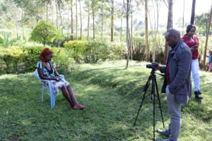 The Water Project: Bukhaywa Community, Ashikhanga Spring -  During The Interview With Sir Allan And Ms Georgina