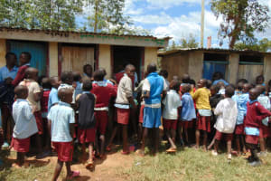 The Water Project: Jivuye Primary School -  Boys Crowding At The Latrines
