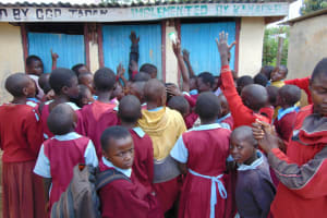 The Water Project: Jivuye Primary School -  Girls Crowding At The Latrines