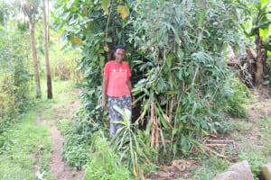 The Water Project: Lukala C Community, Livaha Spring -  Standing Next To Her Bathing Shelter
