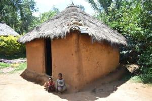 The Water Project: Shianda Township Community, Olingo Spring -  Kids Outside The Kitchen