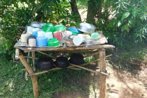 The Water Project: Eshimuli Community, Mbayi Spring -  Dishrack