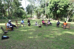 The Water Project: Litinye Community, Shivina Spring -  Physical Distancing Implemented At The Training