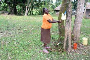 The Water Project: Litinye Community, Shivina Spring -  Mary Mulanda Washes Her Hands Using Leaky Tin