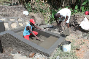 The Water Project: Litinye Community, Shivina Spring -  Staircase Plaster Works