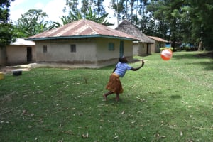 The Water Project: Mukangu Community, Mukasia Spring -  A Child Plays Outside Her Homestead